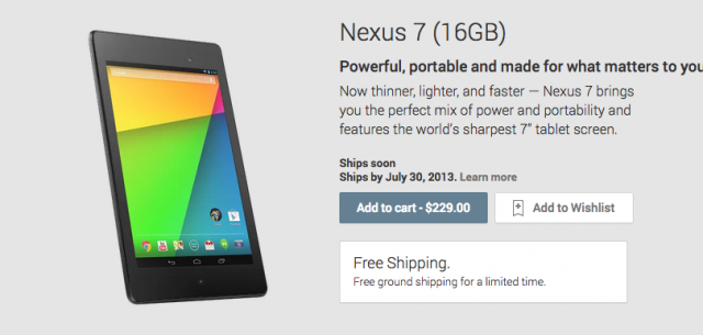 Nexus 7 Google Play listing