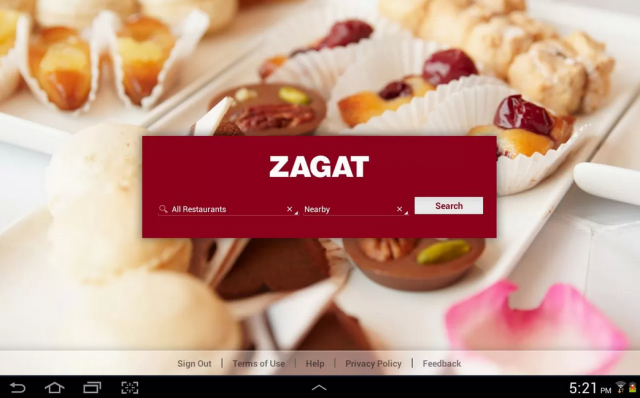 Zagat screenshot tablets