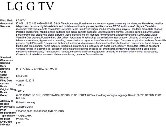 LG G TV trademark