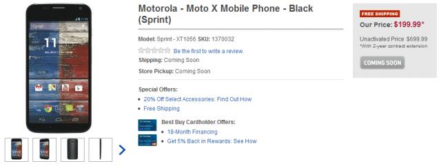 Motorola   Moto X Mobile Phone   Black  Sprint    Sprint   XT1056