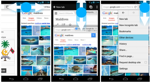 chrome for android beta gestures