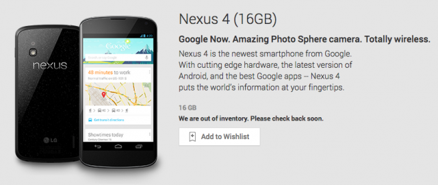 Nexus 4 16GB SOLD OUT