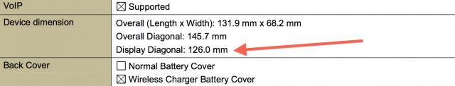 Nexus 5 126mm display FCC