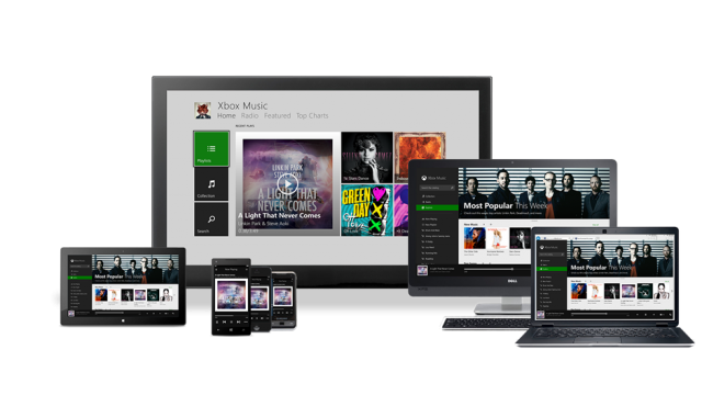 Xbox Music all 3 screens