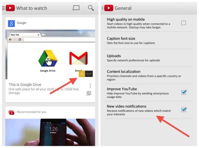 YouTube update screenshots