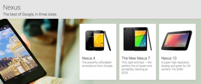 Google Play Devices Nexus 4 7 10