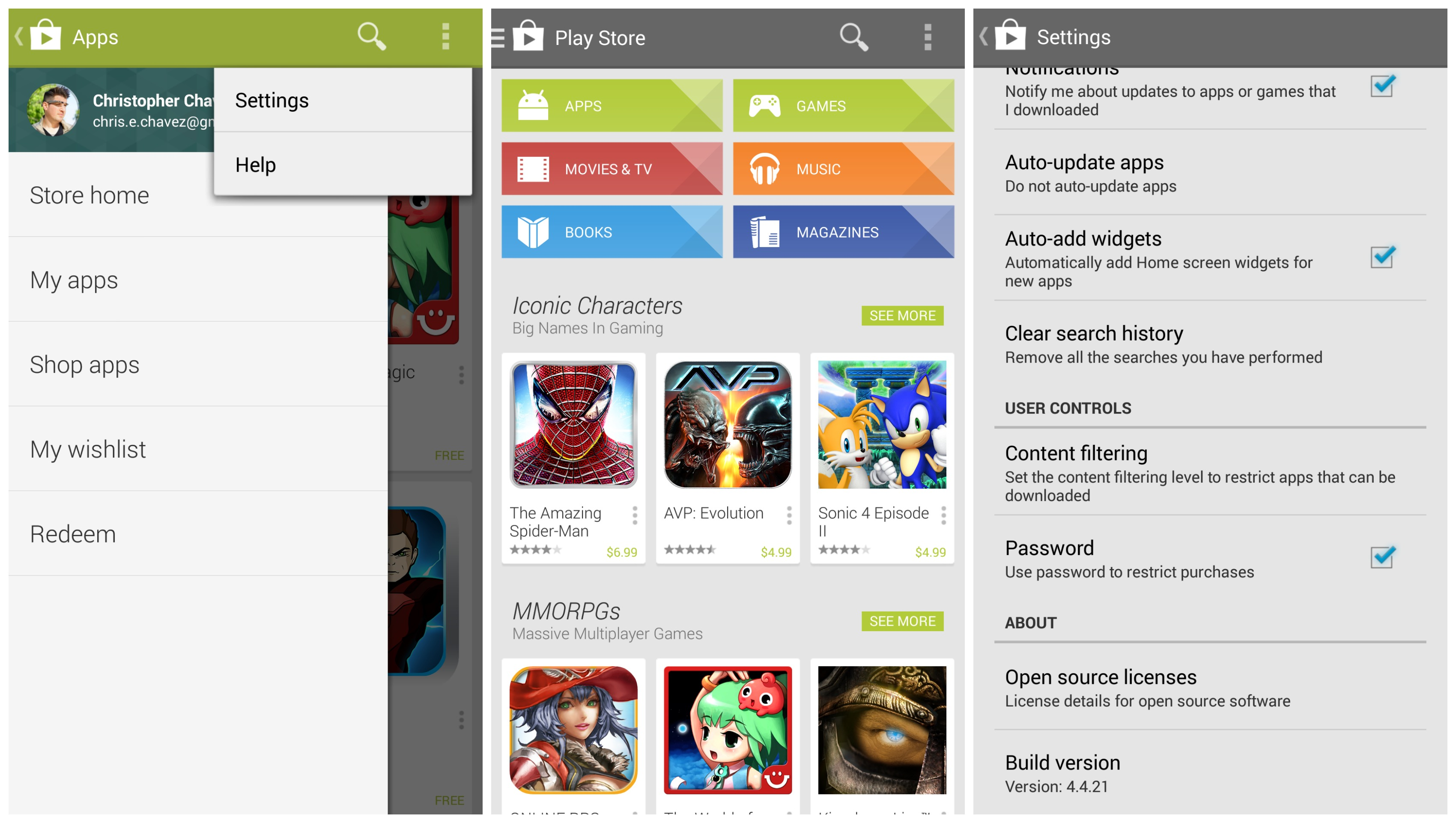 New google play store 4 4 with slide out navigation drawer Play app