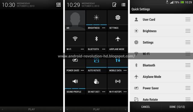 HTC Sense 5 quick settings organizer