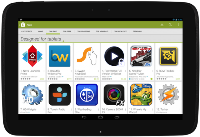 Nexus 10 Google Play tablets