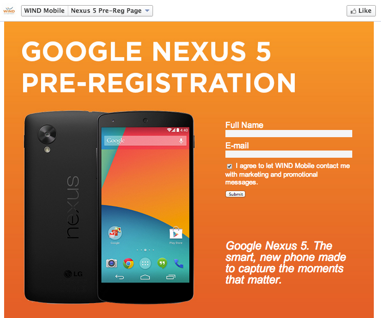 Nexus 5 pre-registration page goes live on WIND, seemingly ...
