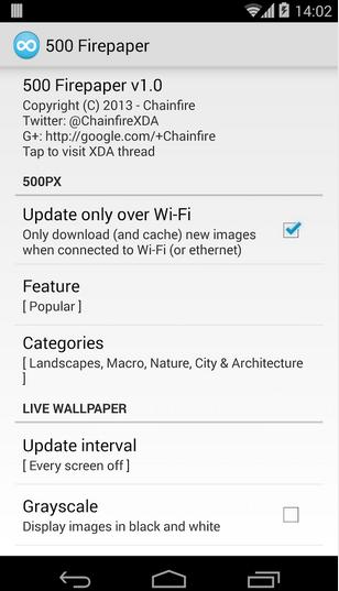 Download Chainfire's 500 Firepaper live wallpaper app