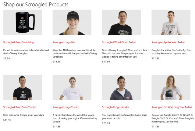 Microsoft Scroogled merch store