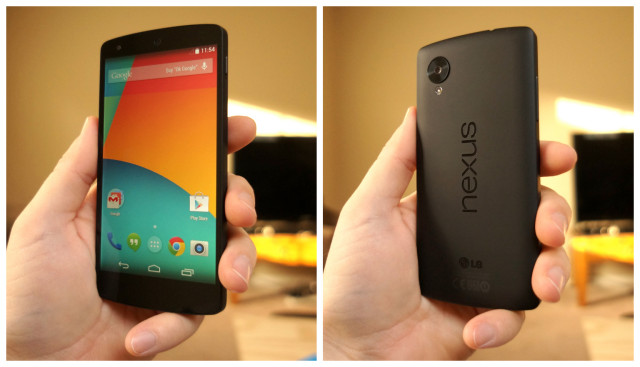 Nexus 5 front back hands on