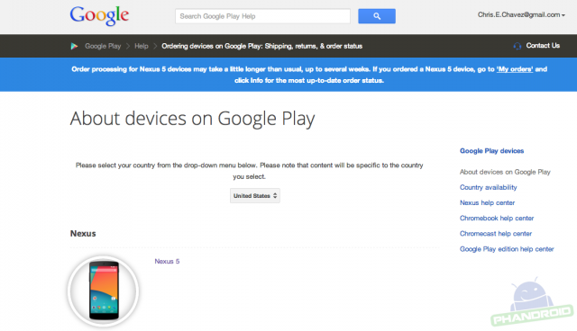 Nexus 5 orders delayed