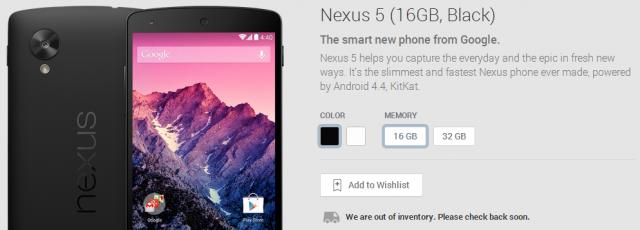 nexus 5 16GB black sold out