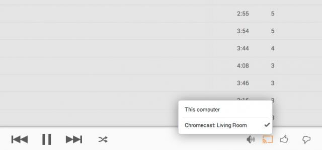 Chromecast Google Play Music web