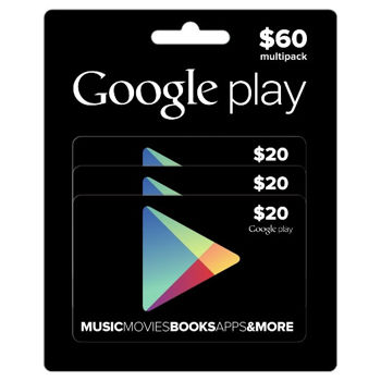 Google Play giftcards 3 pack