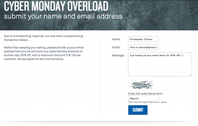 TYLY Cyber Monday Overload page