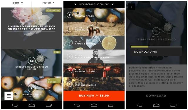VSCO Cam Android Preset packs