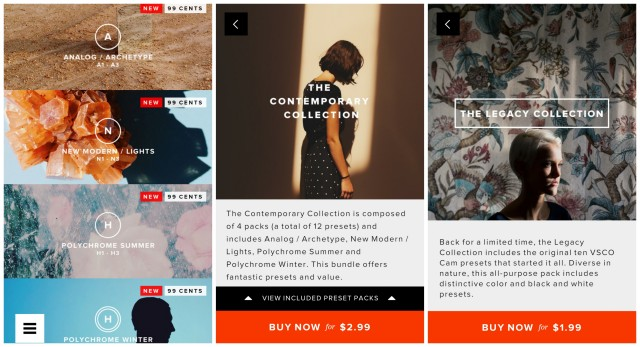 VSCO Cam Contemporary Legacy Collection Preset packs