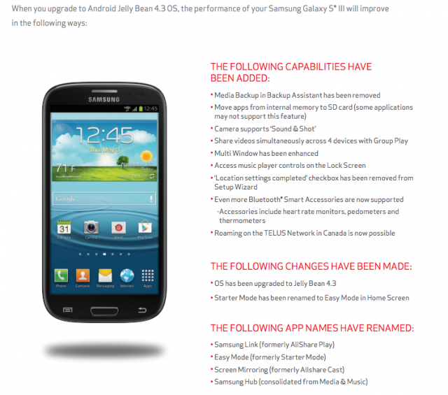 Verizon Galaxy S3 Android 4.3 update benefits