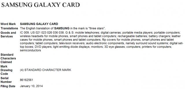 Samsung Galaxy Card trademark