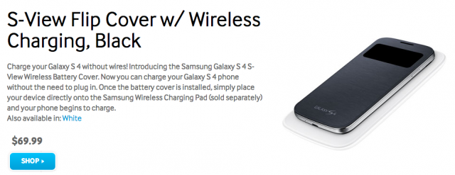 Samsung Galaxy S4 wireless charging S-View Flip Cover