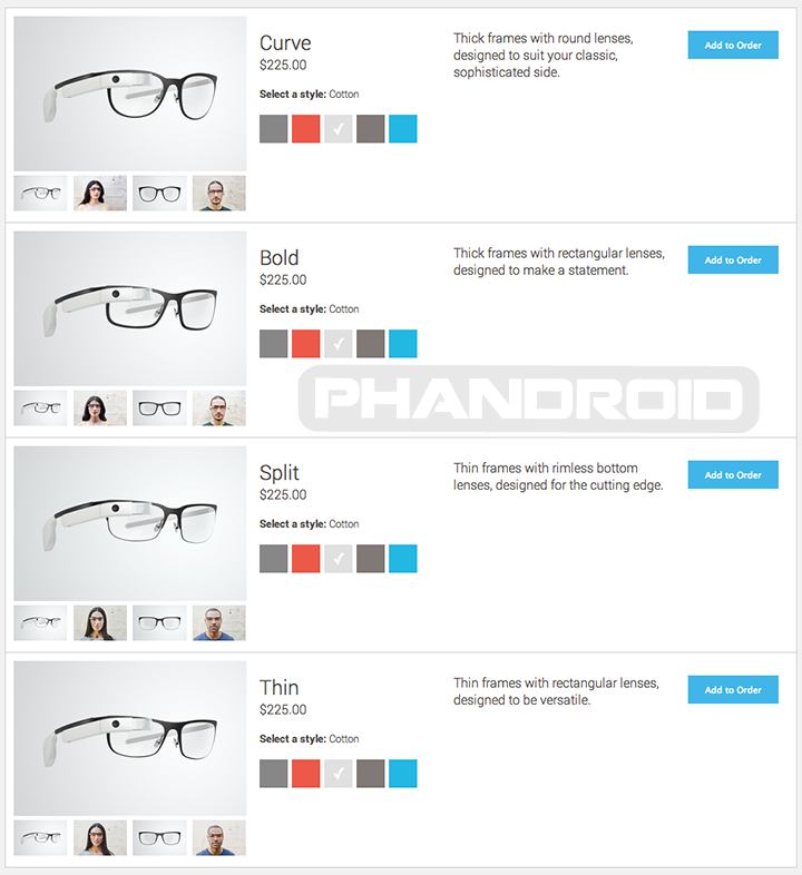 Google Glass Titanium Collection prices and for shades and frames