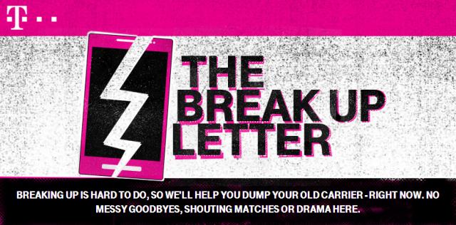 t-mobile break up letter