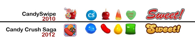 CandySwipe vs Candy Crush Saga icons