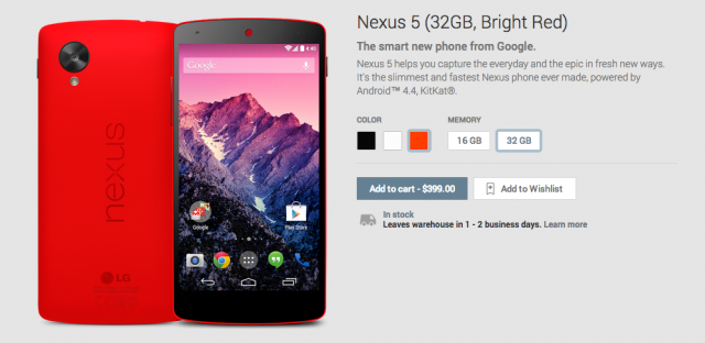 Red Nexus 5 Google Play