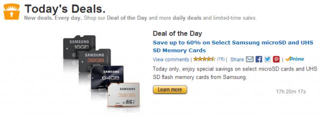 Amazon Gold box samsung sd cards