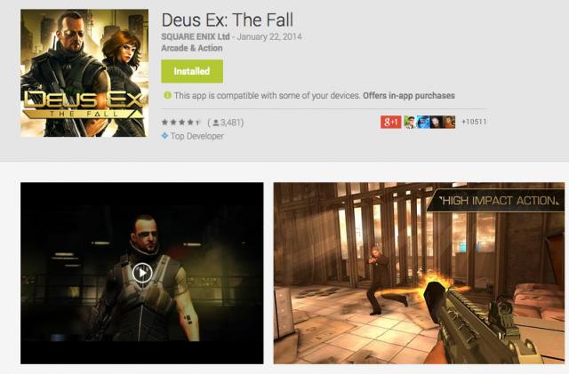 Deus Ex The Fall sale Google Play