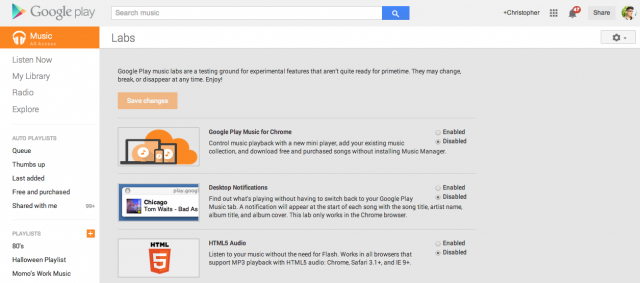 Google Play Music lab for Chrome