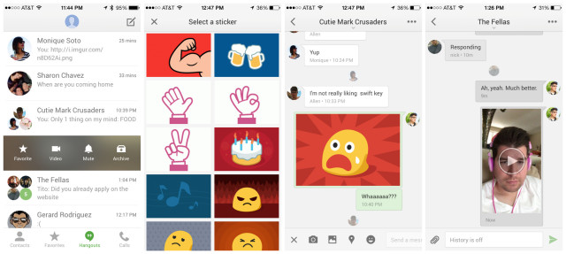 Hangouts iOS update video messages stickers