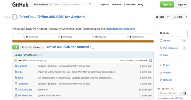 Office 365 SDK for Android Preview
