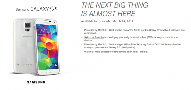 T-Mobile Samsung Galaxy S5 preorder page