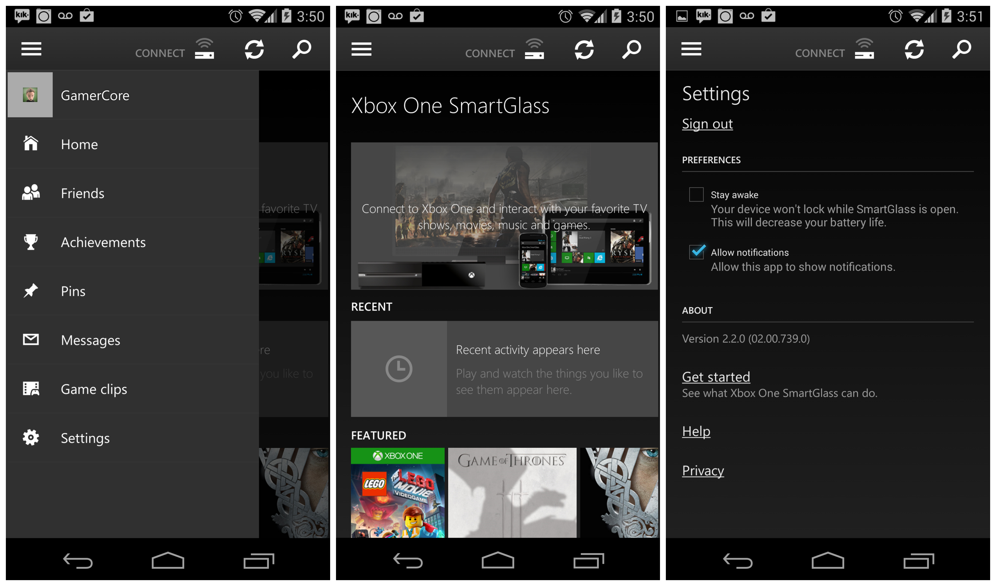 Xbox one smartglass app updated to support push notifications for Application miroir android