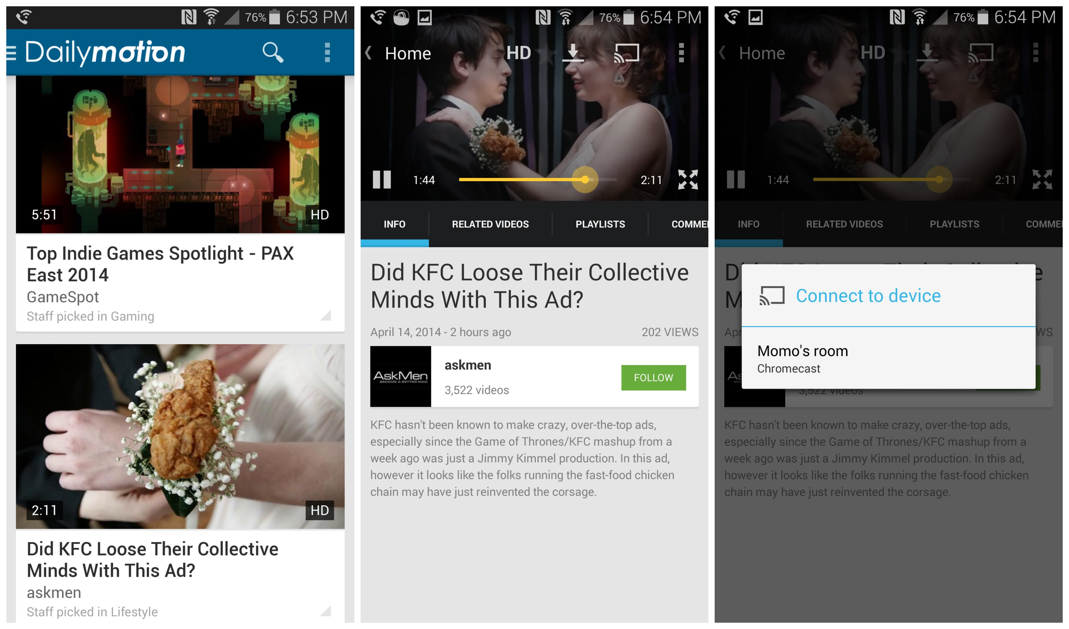 Dailymotion app for Android now supports Chromecast Dailymotion