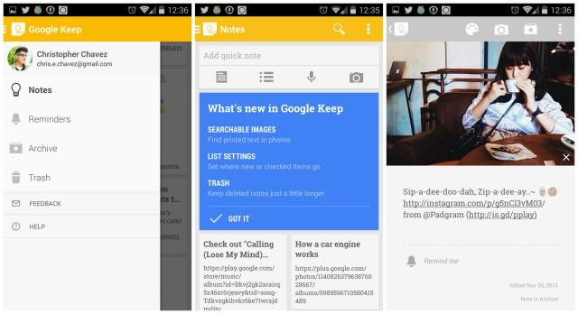 Google Keep update April 2014