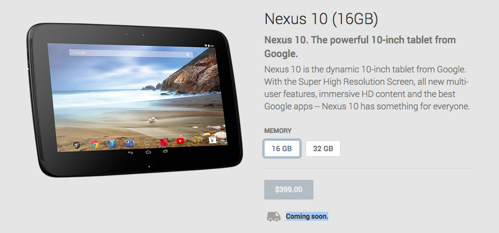 A New 10 Nexus Could Become a Google Play Coming Soon