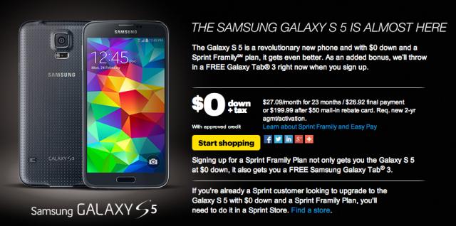 Sprint Samsung Galaxy S5 pre-order