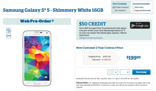 US Cellular Samsung Galaxy S5 preorder