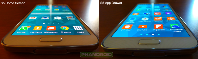 Galaxy S5 Home Screen vs App Drawer