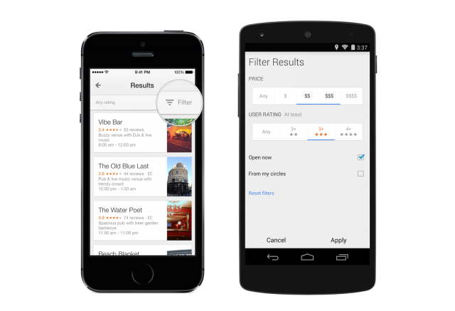 Google Maps 8.0 Local Search Filters