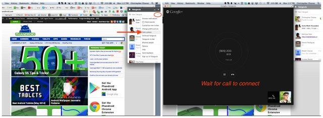 Hangouts Android Google Voice call steps 1 and 2