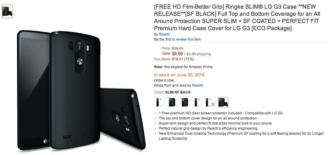 LG G3 leaked in black and white, cases show up on Amazon