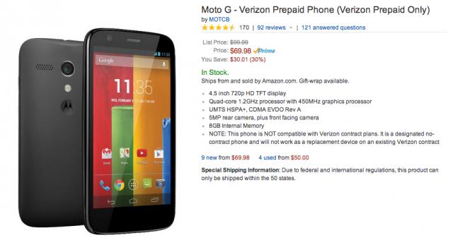 Moto G Amazon 70 bucks