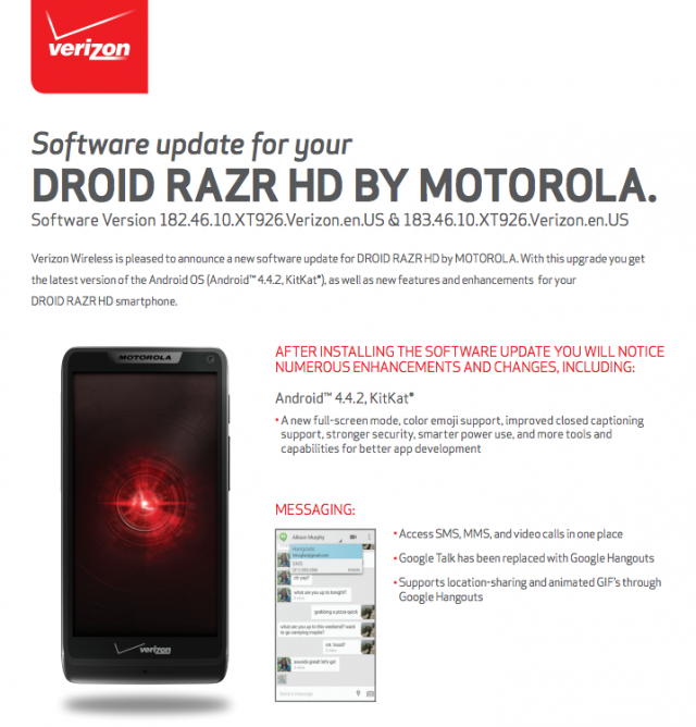 Motorola Droid RAZR HD KitKat update Verizon