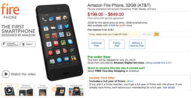 Amazon Fire Phone listing